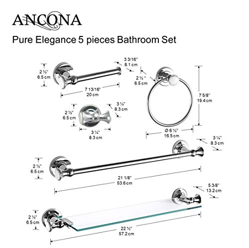 Ancona Pure Elegance Chrome 5-piece Bathroom Accessory Set