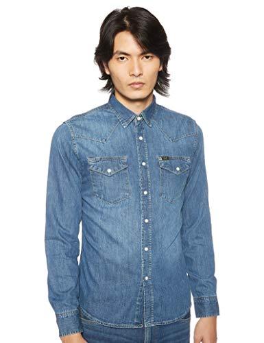 Lee Herren Western Langarm Classic Slim Fit Hemd, Blau (Blue Stance VI), Large