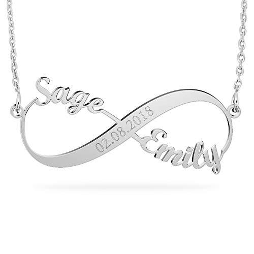 JOELLE JEWELRY Namenskette Unendlichkeits Ketten mit Wunsch Datum Persönalisierte Infinity Namen Halskette 925 Sterling Silber für Paare Love