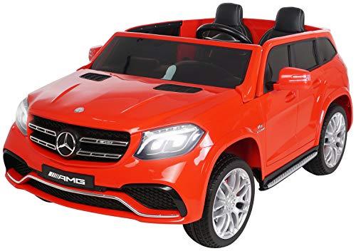 Actionbikes Motors Kinder Elektroauto Mercedes GLS63 - Lizenziert - 4 x 45 Watt Motor - Ledersitz - Eva Vollgummireifen (Rot)