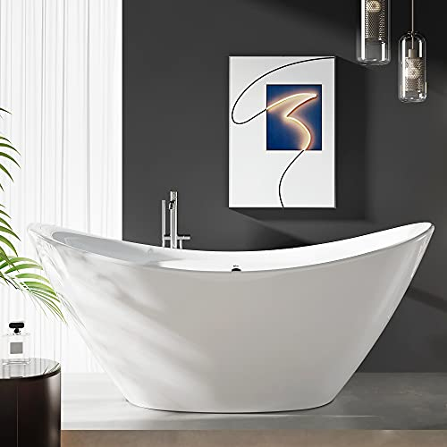 FerdY Boracay 67' Acrylic Freestanding Bathtub, Gracefully Shaped Freestanding Soaking Bathtub, Glossy White, cUPC Certified, Toe-Tap Chrome Drain & Classic Slotted Overflow Included, 02503