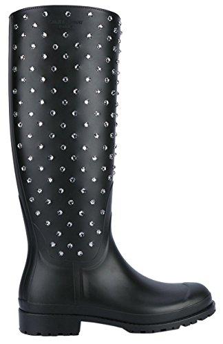 Saint Laurent Women's Black Festival Embellished Rubber Rain Boots Shoes, 6, Black