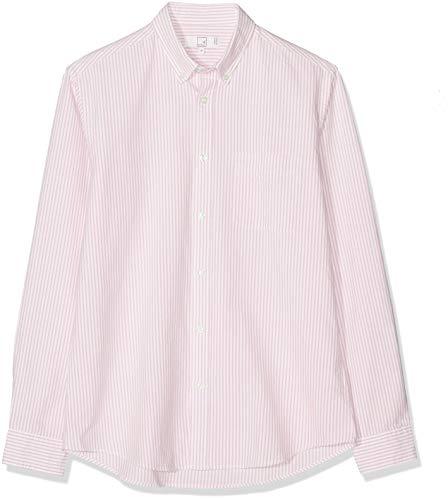Marca Amazon - MERAKI Cotton Regular Fit Oxford Stripe - Camisa casual Hombre, rosa (Pink Pink), XL, Label: XL