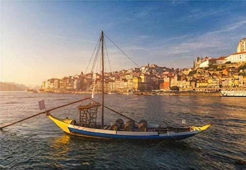 Rompecabezas Barcos de vino de Oporto en el paseo marítimo con el casco antiguo en el río Duero para niños y adultos Juego educativo Puzzle Juguetes DIY, 500 piezas 52 * 38 cm