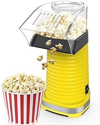 Air Popper Popcorn Maker, Electric Hot Air Popcorn Popper Maker for Home, Healthy Hot Air swirling Popcorn Popper No Oil? DIY Your Own Taste?with Measuring Cup and Removable Top Cover?Yellow)