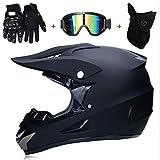 TKUI Casque de Motocross Double Visière pour Scooter Chopper Quad VTT· Casque de Moto Homme et Femme Intégral en Noir Mat · ECE Homologué,B,XL(58~59cm)