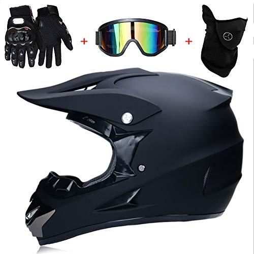 Motocross Helm Matte Schwarz, Herren Crosshelm mit Brillen Maske Handschuhe (4Pcs), Adult Motorrad Sports Damen Männer Enduro Downhill Helm ATV MTB Quad Motorräder Off-Road-Motorrad-Helm,S(52~53cm)