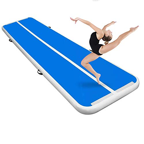 BEYOND MARINA Air Gymnastics Tumble Track 4/8 inches Thickness Inflatable Tumbling Air Mats for Home Use Training/Cheerleading/Yoga/Water(White-Blue, 20'x6.6'x8'')