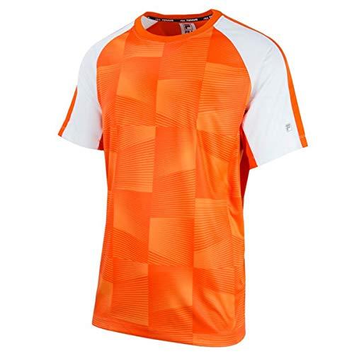 Fila Men's Core Printed Short Sleeve Crewneck T-Shirt (Large, Team Orange/White)