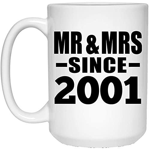 NA 20th Anniversary Mr Amp Mrs Since 2001-White Coffee Mug Ceramic Tea-Cup Drinkware - para Esposa, Esposo, Mujer, Ella, él, Boda, cumpleaños, Aniversario, día de la Madre, Padre YHKR60