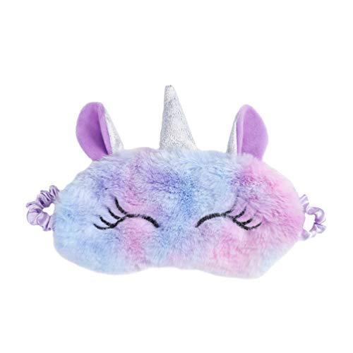 Tendycoco Einhorn Schlafmaske aus Plüsch mit Augenband Cartoon Schlafmaske weich für Mädchen, UP4111B9J42ZE84J3, Violett, UP4111B9J42ZE84J3