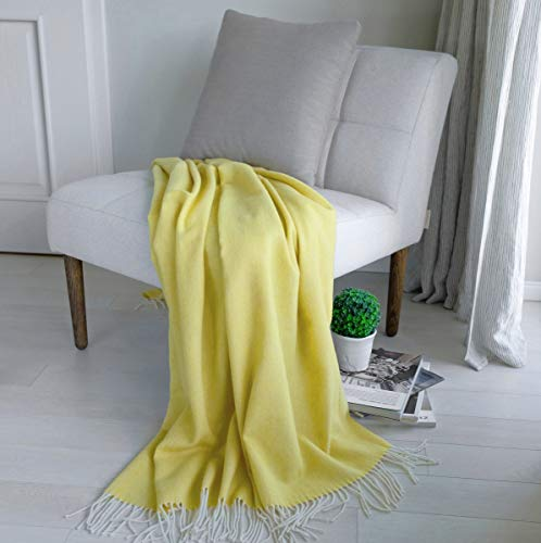 Linen & Cotton Manta Sofa/Mantas de Cama STONEWOLD - 100% Pura Lana Merino, Amarillo (140 x 200cm) Plaid/Blanket/Funda Single Matrimonial de Lana Oveja Ideal para el Invierno