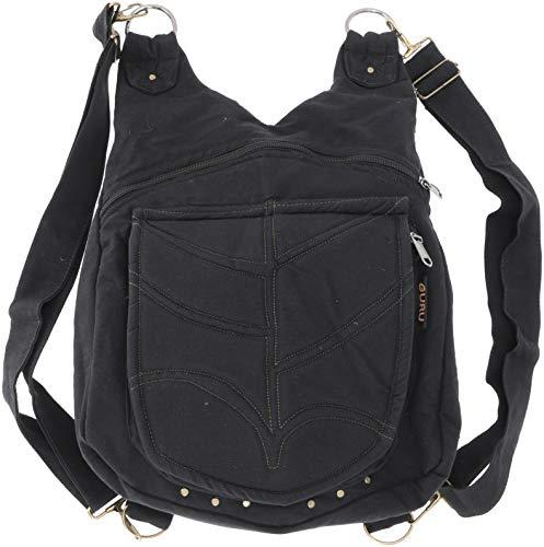 Guru-Shop Ethno Rucksack/Ethno Schultertasche, Herren/Damen, Schwarz, Baumwolle, Size:One Size, 30x30x13 cm, Alternative Umhängetasche, Handtasche aus Stoff