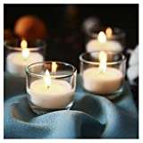 SUPREME LIGHTS ·2017· Clear Glass Votive Candle Holders, Unscented Candles in Bulk, for Weddings, Parties, Birthday Decorations, Emergency Candles 24 Pack