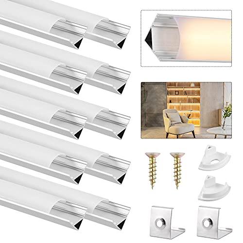 DazSpirit Perfil Aluminio LED Forma de V, 10 Pcs 1m / 3.3ft Tira LED Perfil Aluminio con Cubierta Difusora Blanca Lechosa, Tapas de Extremo y Clips de Montaje de Metal (Sin Tiras LED)