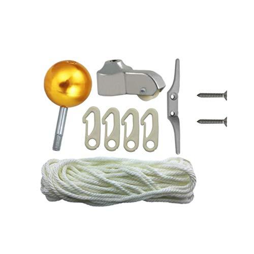 DOITOOL 1 Set/10 Stück Fahnenmast Kit Aluminium Flagge Golden Ball Top Ersatz Halyard Cap Karabinerhaken Clip Hängeseil für Wohn- oder Gewerbe