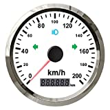 125 km/h 85mm pour Le Compteur de Vitesse GPS 200 km/h pour Camion de Bateau de Voiture 12V 24V avec Alarme de Buzzer sur Vitesse et éclairage (Color : Ws200kmh)