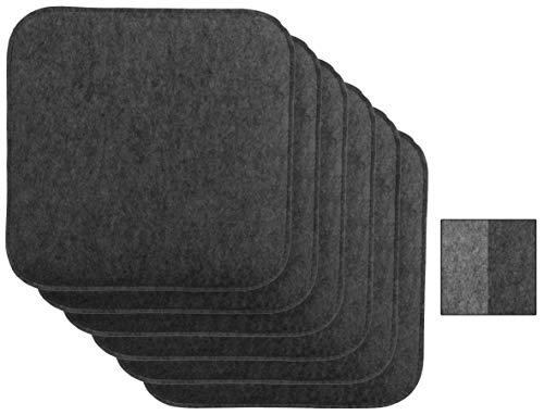 Brandsseller Wende-Sitzkissen Filz 6er Vorteilspack zweifarig Eckig Stuhlkissen Sitzauflage Gepolstert - 35 x 35 x 1,5 cm Anthrazit/Grau