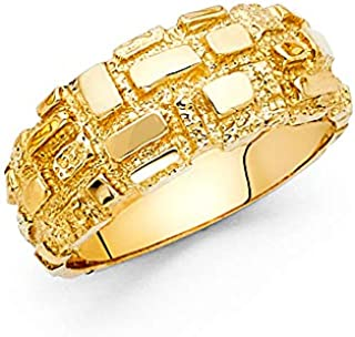 Wellingsale Men's Solid 14k Yellow Gold Heavy Nugget Ring