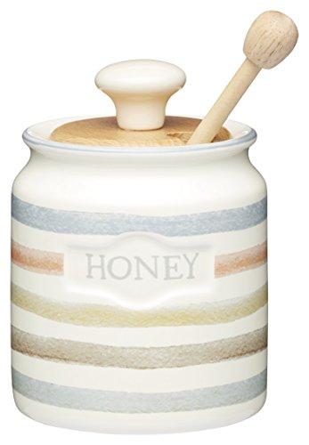 KitchenCraft KCCCHONEY Keramik-Honigtopf mit Holzlöffel, aus der Classic-Kollektion, gestreift, 450 ml, 8 x 8.5 x 13 cm