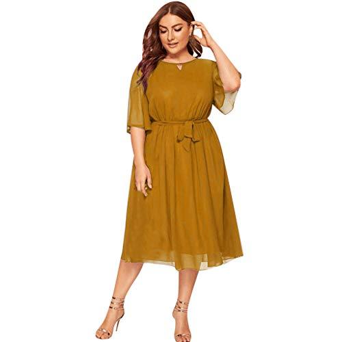 LOPILY Damen Abendkleid Große Größen Sadin Einfarbiges Cocktail Kleid Hohe Taille Chiffonkleid Übergrößen Festliche Kleider für Damen...