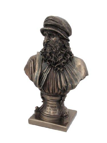 Artista renacentista italiano Leonardo Da Vinci 9 1/8 pulgadas de figurillas de bronce Busto de piedra de resina