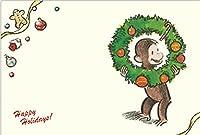 おさるのジョージ ポストカード (クリスマスリース)