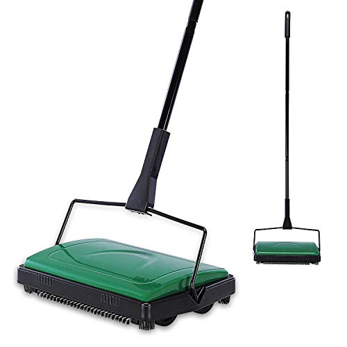 Yocada Carpet Sweeper Cleaner for Home Office Low Carpets Rugs Undercoat Carpets Pet Hair Dust Scraps Paper Small Rubbish Cleaning with a Brush Green