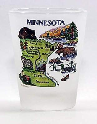Minnesota Map Frosted Shot Glass