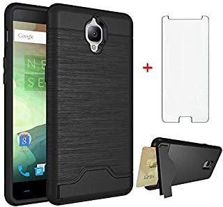 Phone Case for Oneplus 3 3T A3000 with Tempered Glass Screen Protector Cover and Card Holder Wallet Kickstand Rugged Hard Cell Accessories Oneplus3 Oneplus3T 1 One Plus T 1plus 1+ 1+3T 1+3 Cases Black
