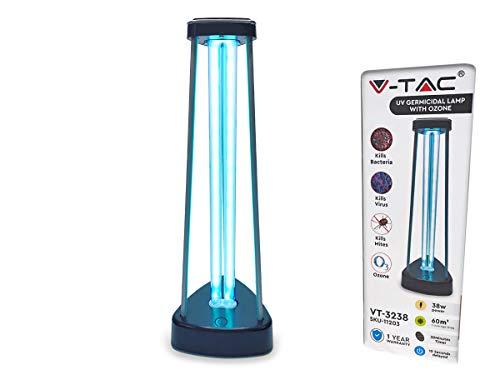 Ledlux - Lámpara germicida UV 38 W con gas de ozono esterilización, desinfección, saneamiento lumbar hasta 60 m² Mata 99,9 % de bacterias Virus Moffa y agentes patógenos