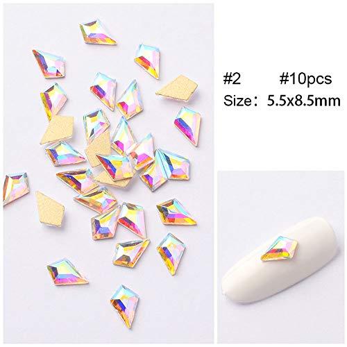 LIUSHUGUANG 10 Pcs/Sac Nail Strass AB Couleur Cristal Clair Goujons Or Argent Plat Dos Brillant 3D Nail Art Décoration DIY Outils,02