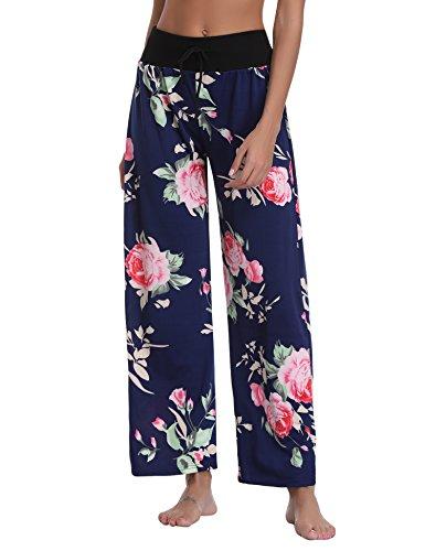 Pantalon Femme Pyjama Ample Elastique d'intérieur Jogging Détente Fluide Eté Léger Yoga Pants Grande Taille Chic Floral Imprimé Jambe Large Pantalon de Sport Décontracté Amincissant, Bleu Marine, S
