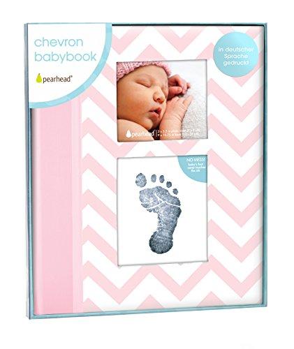Pearhead P62205 Zickzack Baby-Erinnerungs-Buch mit einer Sauberen Aubdruck Tinten-Auflage, um Hand oder Fussabdruck des Babys zu erhalten, rosa