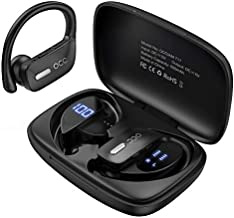 Wireless Earbuds Occiam Bluetooth Headphones 48H Play Back Earphones in Ear Waterproof with Microphone LED Display for Sports Running Workout Black
