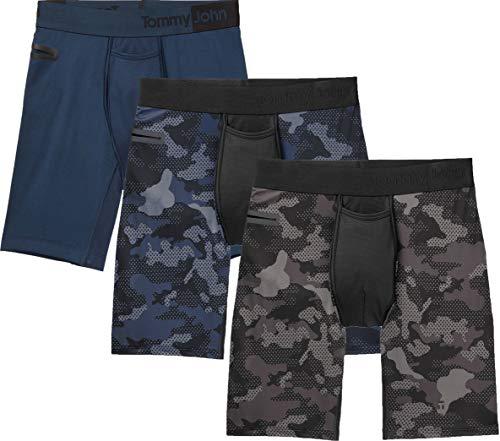 Tommy John Men's 360 Sport 2.0 Boxer Briefs - 3 Pack - No Ride-Up Comfortable Underwear for Men (Dress Blues Camo/Black Camo/Dress Blues, Large)
