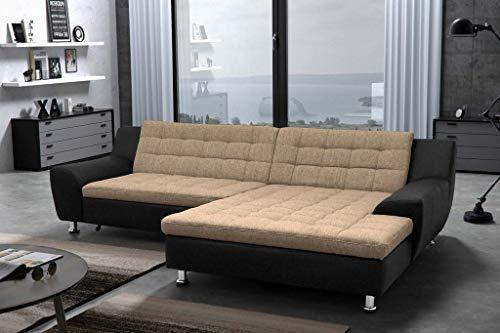 Udine Ecksofa Polstergarnitur Couchgarnitur Couch Sofa Beige/Schwarz, Ausführung:Rechts, Funktionen:ohne Funktion