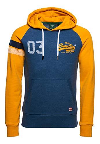 Superdry Herren Vintage Logo Varsity Hoodie mit Raglanärmeln Pilot Mittelblau Meliert XL