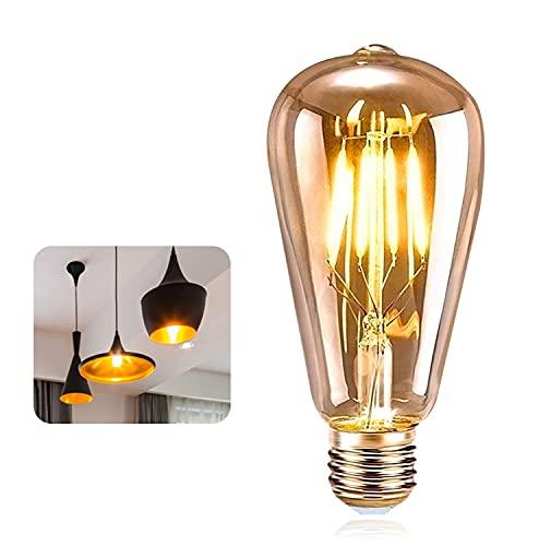 Vintage Edison Bombilla, ASANMU Bombilla LED Vintage E27 ST64 4W (Equivalente a 40W) 2200K Retro Edison Lámpara Ambar Cálido Bombillas Incandescentes para Lluminación y Decoración 220V-240V (1 Pieza)