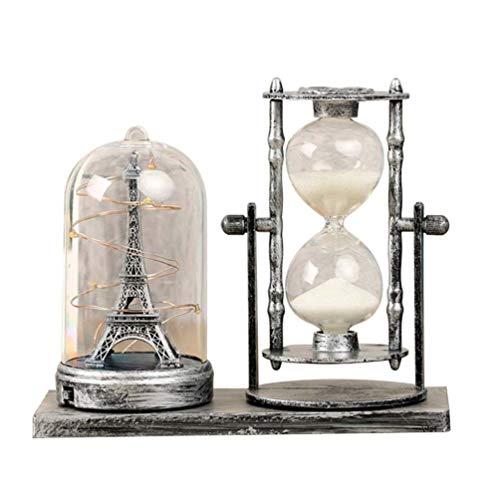 VOSAREA – Temporizador de Arena, diseño clásico de la Torre Eiffel con luz LED, Retro, para decoración…