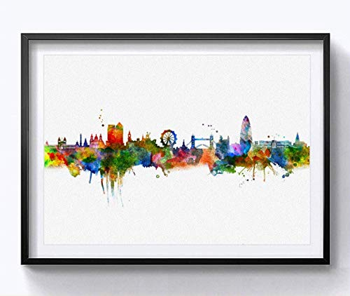 London Watercolor Skyline Art Print Cityspace Landscape Paiting Wall Art Skyline Design Home London Wall Decor 8x10 Inch Without Frame