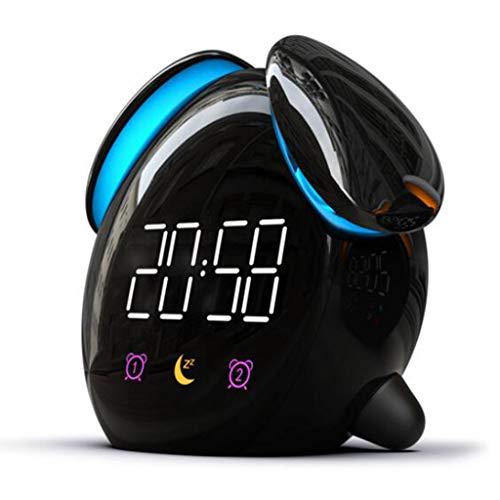 Unbekannt Kinder-Wecker Led 7 Farbige Sonnenaufgang Simulation Schlafmittel Mit Dual-Alarm Snooze-Funktion USB-Stromversorgung for Schlafzimmer Nacht Kinderzimmer (Color : Black)