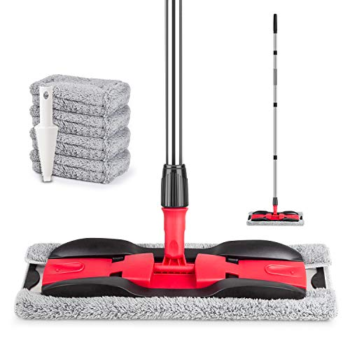 MEXERRIS Microfiber Floor Mop for Hardwood Cleaning 360 Rotating Dust Wet Mop with Extended Handle, 4 Reusable Washable Mop Pads Cloth and 1 Scraper