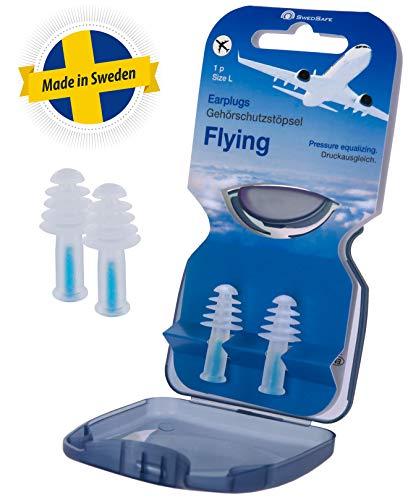 Swedsafe Ohrstöpsel Flugzeug Herren - Ideal für Druckausgleich und Schlaf beim Fliegen Large inkl. Box