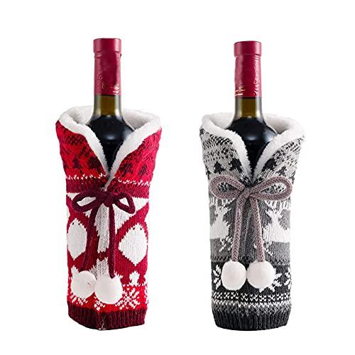 2 piezas de Navidad suéter botella de vino, bolsa de botella de vino, bolsa de piel sintética para decoración de fiesta de Navidad