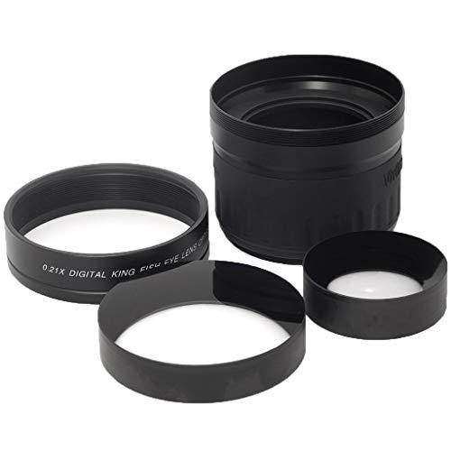 F Fityle Lente Ojo de Pez Ajuste para Cámaras Digitales Canon, Olympus, Nikon, Sony, Panasonic, Pentax y más - Negro
