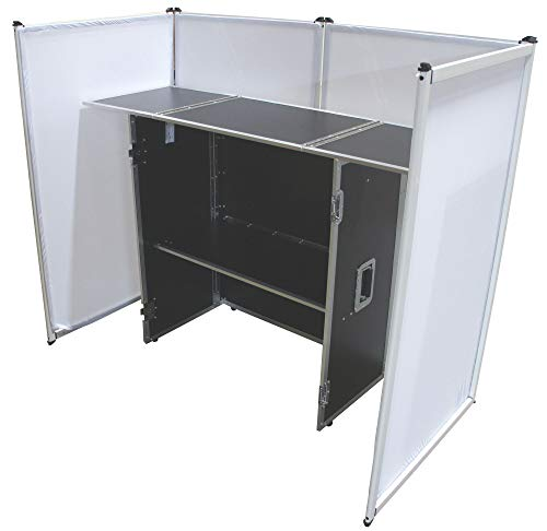 "Harmony Audio Aluminum Portable DJ Facade Booth Scrim & 54"" Workstation Table"