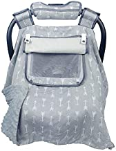Car seat Covers for Babies boy Girl, Carseat Canopy for Newborn Carrier, 2 Layers Windows of mesh/Fabric, No Shifting on Carrier Handle, Handle Cushion, Cotton & Grey Minky