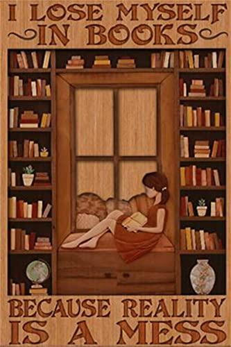 Poster su tela con scritta  Girl I lose me self in books because reality is a mess poster, idea regalo, senza cornice, 30,5 x 45,7 cm
