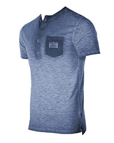 Men's Vintage Color Dyed Short Sleeve Crew Neck Chest Pocket Henley Shirt 4